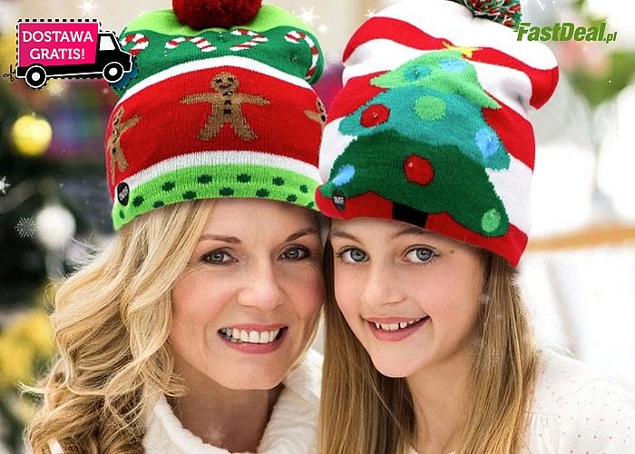 Świąteczna, świecąca czapka