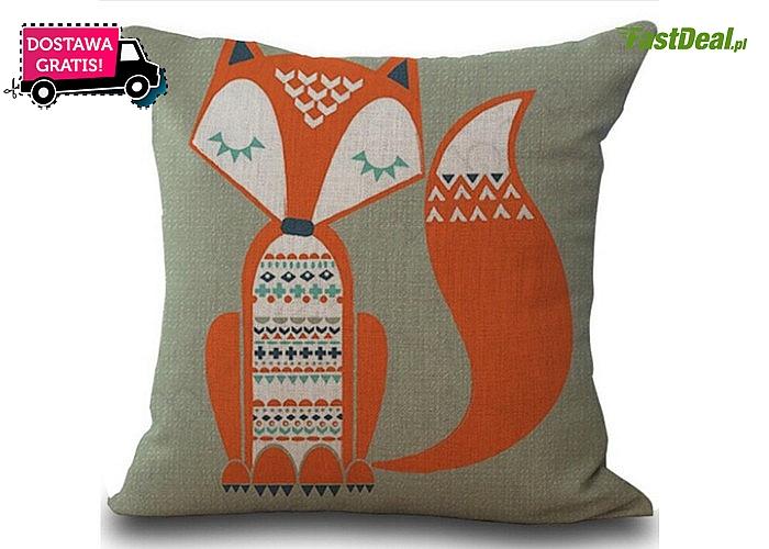 Bawełniana poszewka na poduszkę 45 x 45. Oryginalna dekoracja sofy, kanapy, łóżka