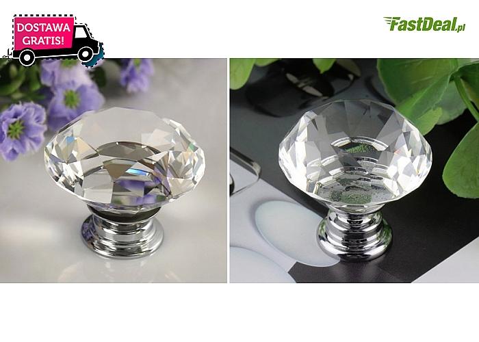 Uchwyt do mebli w formie KRYSZTAŁOWEJ GAŁKI - kryształ + stop cynku. Przesyłka w cenie kuponu!