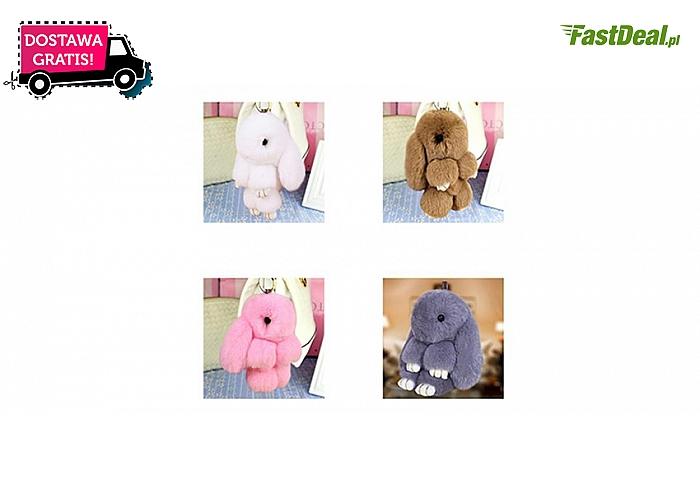 Uroczy breloczek w formie puszystego króliczka: do kluczy, telefonu lub torebki, 4 kolory do wyboru. Wysyłka GRATIS!