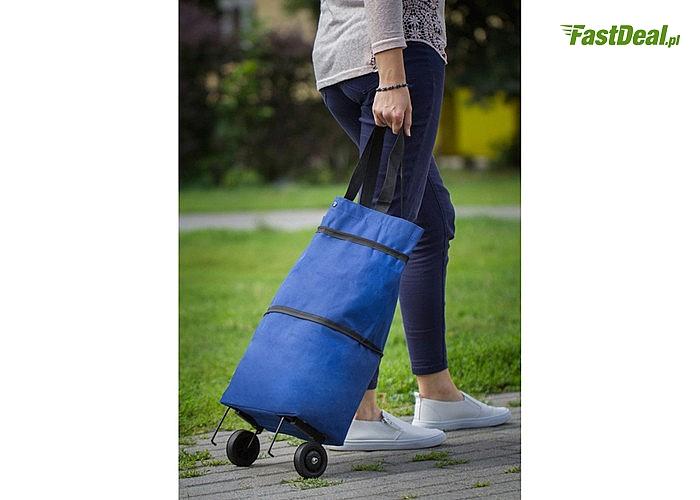 Funkcjonalna torba na zakupy 2 w 1! Można nosić na ramieniu lub używać jako torbę na kółkach!