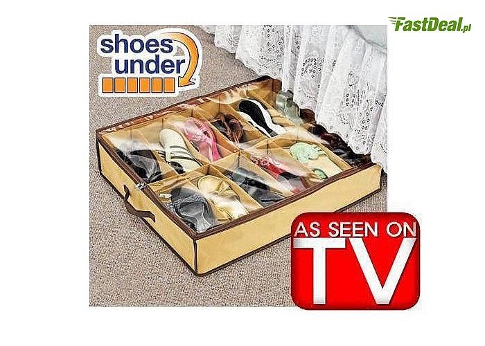 ORGANIZER NA OBUWIE, który pomieści aż 12 par różnej wielkości obuwia! Schowasz go do szafy lub pod łóżko