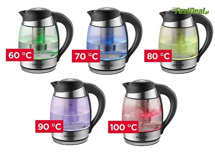 Szklany czajnik elektryczny  rk4061 z termoregulacją i zaparzaczem 1,8l