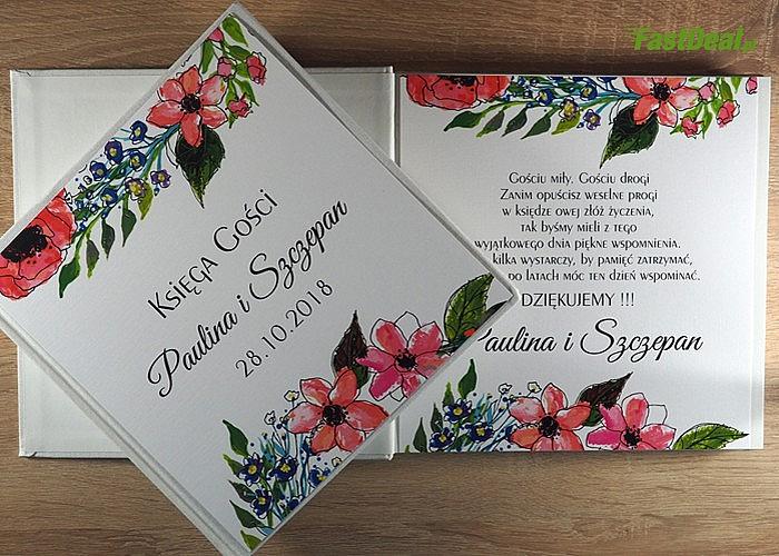 Księga Gości! Personalizowana okładka i pierwsza strona z Waszymi imionami! Wysoka estetyka wykonania!
