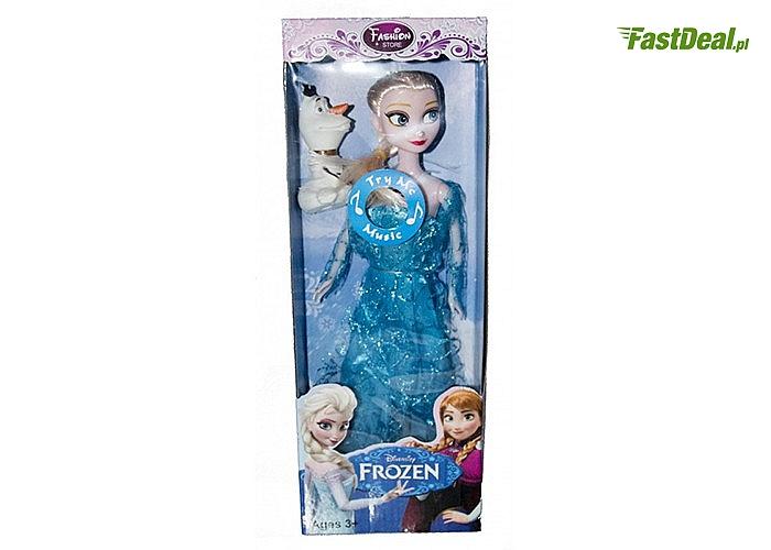 Urocza Lalka dla dziewczynek uwielbiających słynną Elsę oraz bałwanka Olafa bohaterów kultowej bajki Kraina Lodu