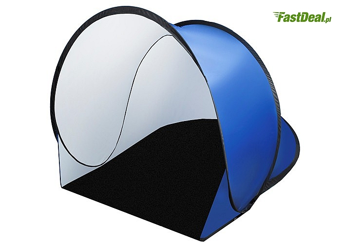 Namiot chroni Cię przed wiatrem i nadmiernym słońcem, posiada filtr UV odbijający szkodliwe promieniowanie