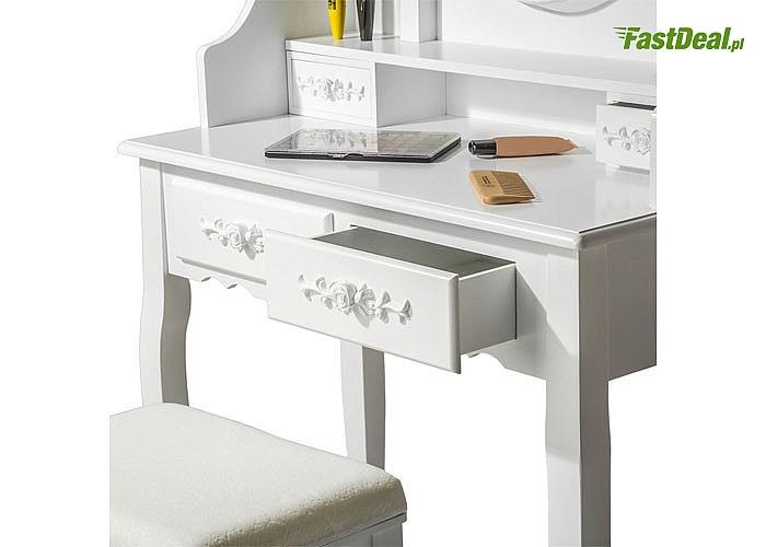 Piękna toaletka w zestawie ze stołkiem! Wiktoriańska cudowna stylistyka! Ręcznie wykonana! 2 wzory do wyboru!