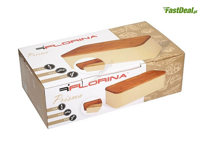 Nowoczesny stalowy chlebak firmy Florina z bambusową pokrywą