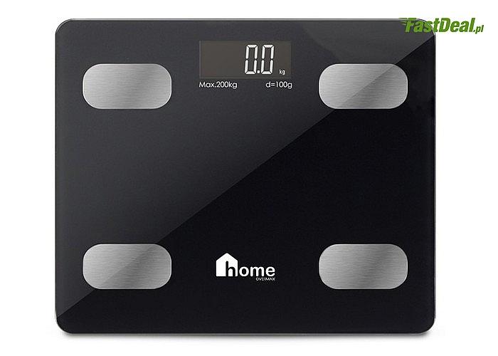 Szklana waga łazienkowa w kolorze czarnym 17w1