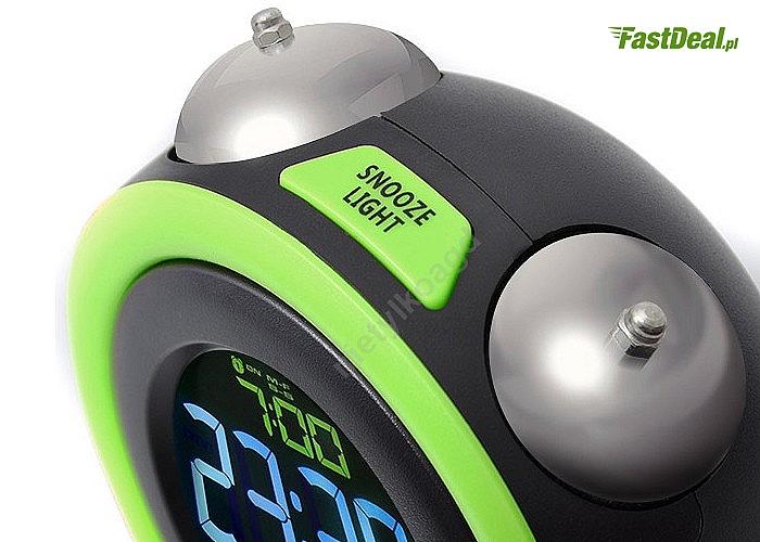 Nowoczesny budzik elektroniczny z dwoma niezależnymi alarmami.