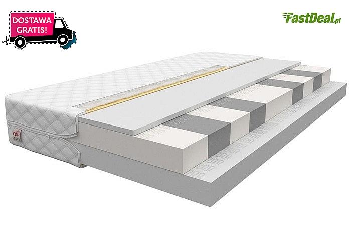 Funkcjonalny, piankowy materac z pokrowcem, dostępny w różnych rozmiarach.