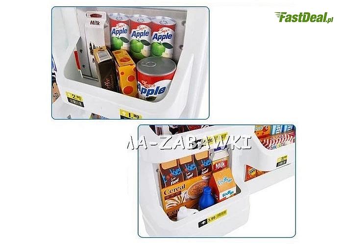 Supermarket - w zestawie kasa, wózek na zakupy oraz waga. Całość utrzymana w kolorystce biało - czerwonej