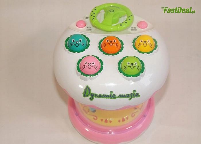 W każdym trybie zabawki karuzela kręci się i świeci! Super zabawa!