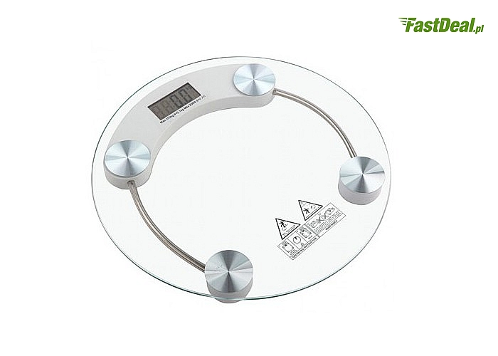 Kontroluj masę swojego ciała! Elektroniczna, szklana waga łazienkowa! Do 180 kg