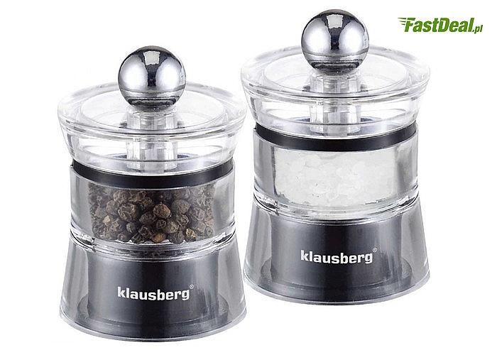 Zestaw młynków do pieprzu i soli Klausberg! Wyposażone w ceramiczny mechanizm mielący! Regulacja grubości mielenia!