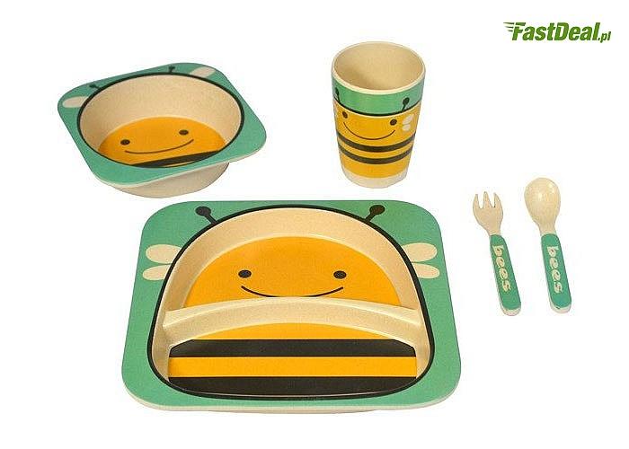 Wykonany z włókna bambusowego! Zestaw obiadowy dla dzieci! Kubek, miseczka ,sztućce i talerzyk dzielony! Mnóstwo wzorów!