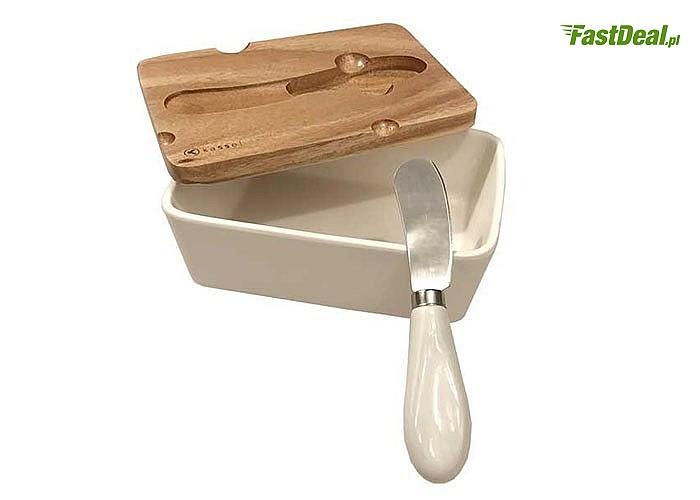 Stylowe dodatki do kuchni! Porcelanowa maselniczka lub cukiernica z akacjową pokrywką