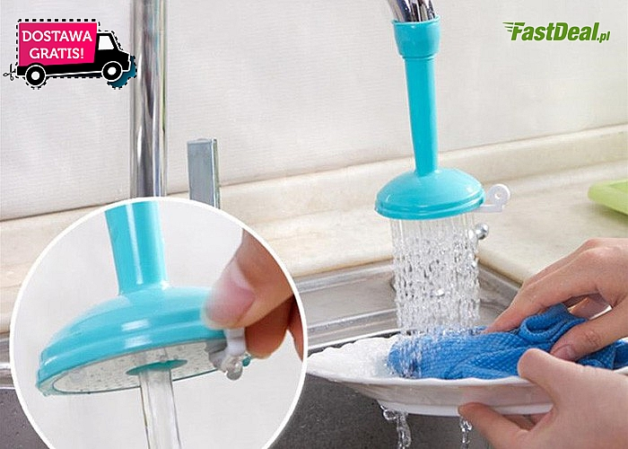 Praktyczne przedłużenie kuchennego kranu, które pozwala wodzie płynąć jak w prysznicu