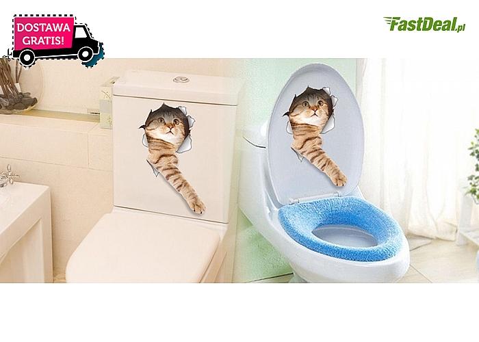 Naklejka ozdobna 3D z uroczym kotem zabawnie wychodzącym ze ściany. Wysyłka GRATIS!