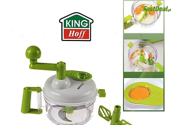Wielofunkcyjny robot kuchenny Kinghoff! Ostrze tnące z wysokiej jakości stali nierdzewnej! Łatwy montaż i demontaż!