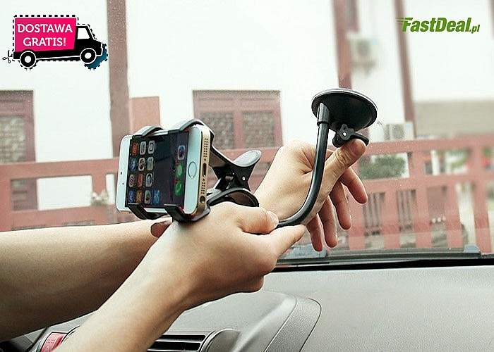 Wygodny uchwyt na telefon do samochodu!! Idealny na przednią szybę! Doskonała jakość!