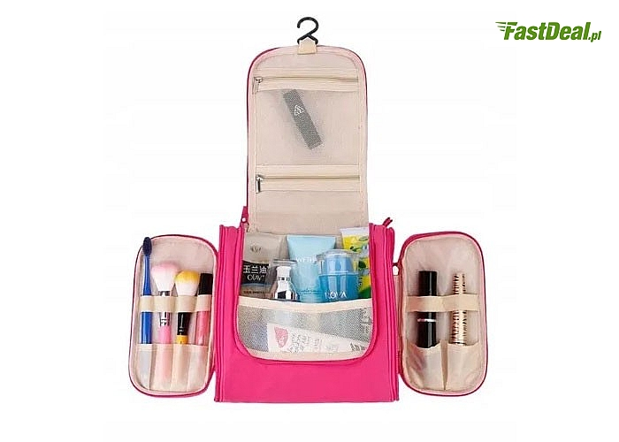 Pojemny i wygodny kuferek na kosmetyki z haczykiem do zawieszenia