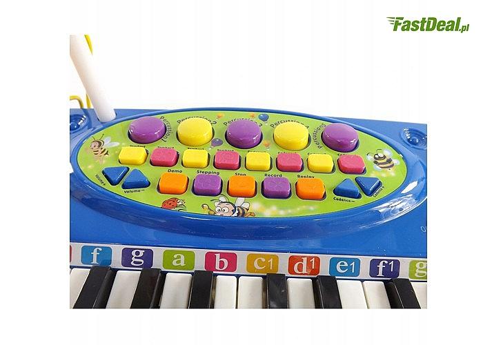 Niebieskie organy z mikrofonem, 37 klawiszy! 4 przyciski, które imitują dźwięki trąbki!