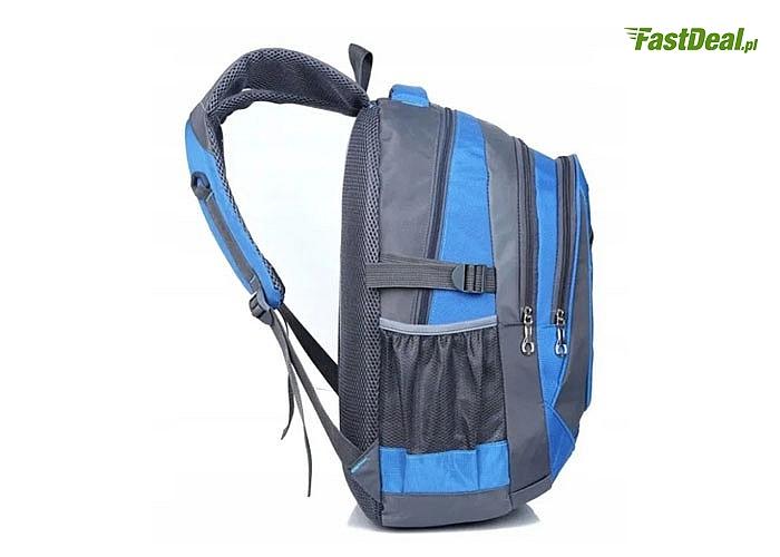 Sportowy plecak z wieloma przegrodami o zróżnicowanym zastosowaniu wykonany z materiałów wodoodpornych