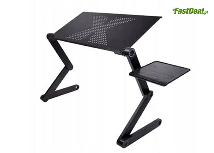 Nowoczesny stolik zapewnia wygodną prace na laptopie, tablecie lub innym urządzeniu mobilnym w dowolnym miejscu