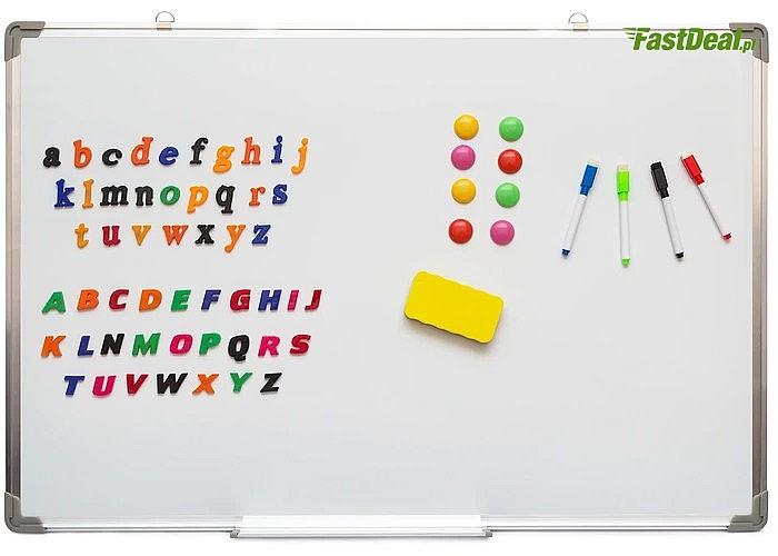 Magnetyczna tablica suchościeralna! 90x60 cm! Gąbka, markery, magnesy oraz literki w zestawie!