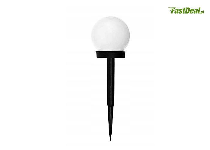"""Estetyczna zewnętrzna lampa ogrodowa LED typu """"kula"""" z czujnikiem zmierzchu"""