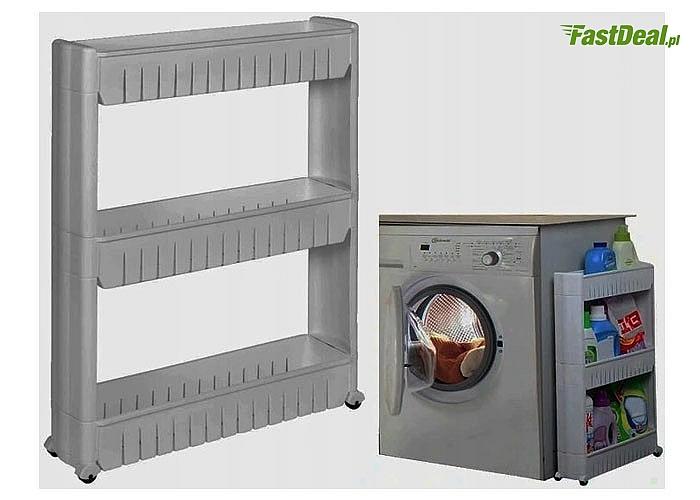Idealna do kuchni i łazienki! Mobilna, wąska szafka- regał na kółkach. 3 poziomowa!