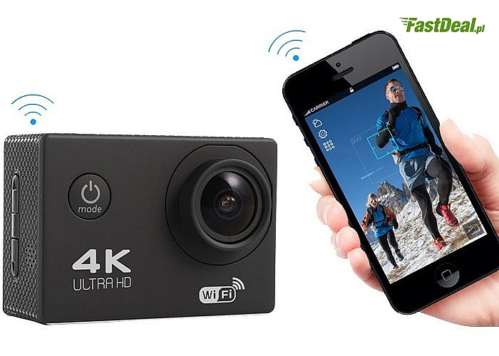 Profesjonalna sportowa kamera ULTRA HD 4K + WiFi! Jedna z najlepszych na rynku! W zestawie akcesoria!