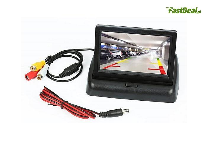 """Monitor samochodowy 4,3"""" TFT panoramiczny zapewnia on przejrzysty obraz, żywe kolory i doskonały kąt widzenia"""