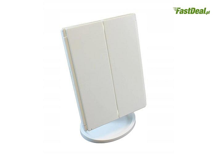 Lusterko kosmetyczne wyposażone w 22 diody led, uruchamiane dotykowo, w pełni regulowane,w płaszczyźnie 360 stopni