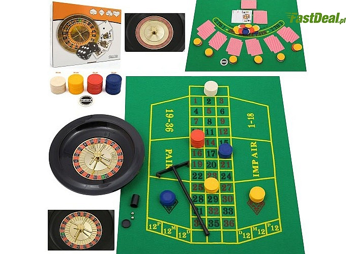 Zestaw do gry w pokera 5w1! Mata, żetony, ruletka, talia kart i wiele innych w zestawie!