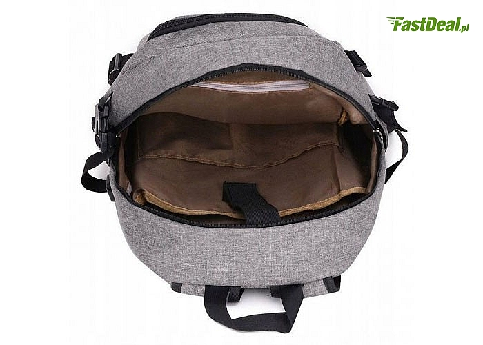 Sportowy plecak antykradzieżowy z portem USB. 3 kolory do wyboru.