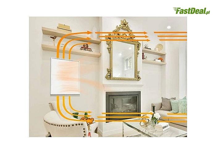 Grzejnik na podczerwień panel promiennik IR 600W z termostatem i pilotem nowoczesne rozwiązanie da domu i biura