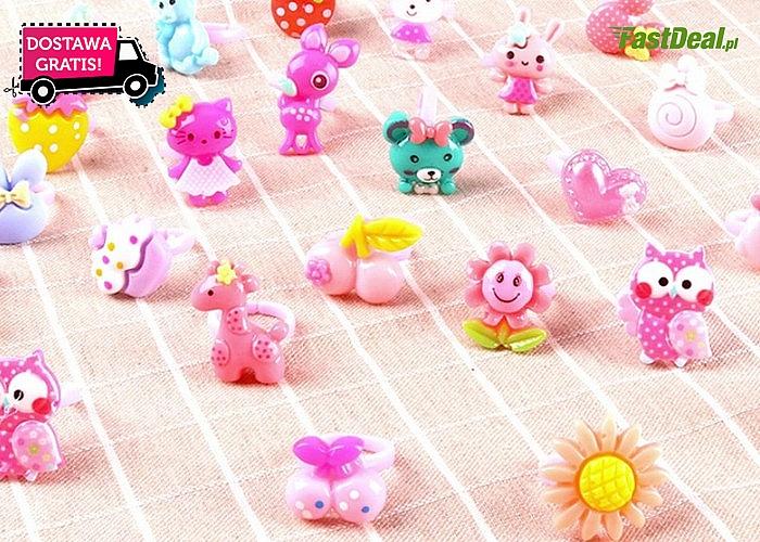 WOW! Zestaw aż 36 kolorowych pierścionków dla dziewczynek w ślicznym pudełku