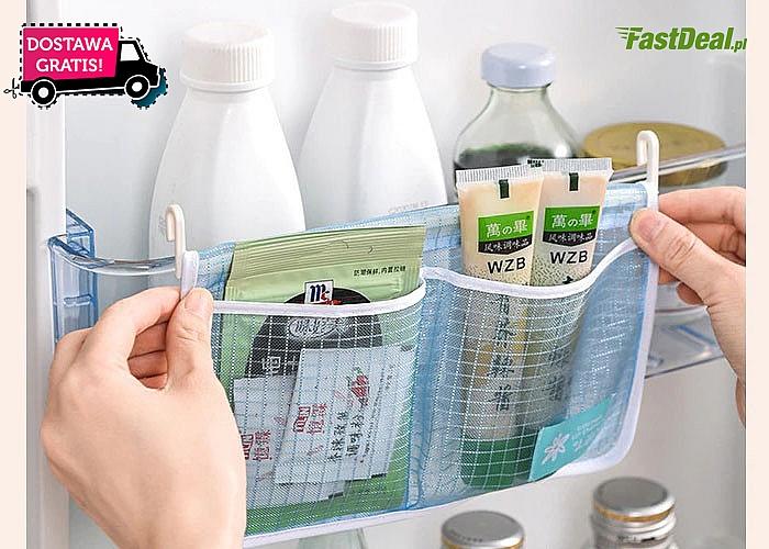 Praktyczny organizer do lodówki w postaci zawieszanej siatkowej torby