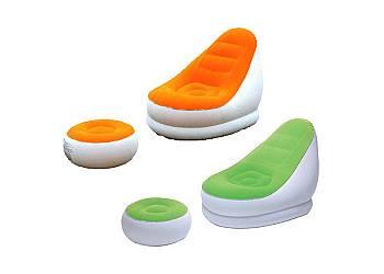 Fotel dmuchany z podnóżkiem