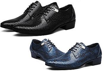 Skórzane buty męskie z wężowym wzorem