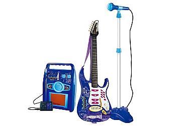 Gitara elektryczna ze wzmacniaczem i mikrofonem